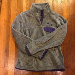 Patagonia Re-Tool snap pullover fleece gray S EUC